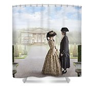 18th Century Georgian  Couple Looking Towards A Country Estate Shower Curtain