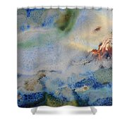 19. Blue Green Brown Abstract Glaze Painting Shower Curtain