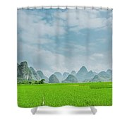 The Beautiful Karst Rural Scenery Shower Curtain