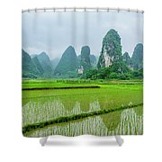 The Beautiful Karst Rural Scenery In Spring Shower Curtain