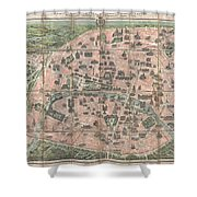 1900 Garnier Pocket Map Or Plan Of Paris France  Eiffel Tower And Other Monuments  Shower Curtain