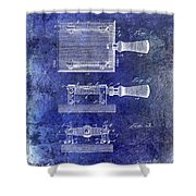 1900 Knife Switch Patent Blue Shower Curtain