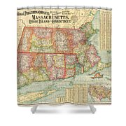 1900 National Publishing Railroad Map Of Connecticut Massachusetts And Rhode Island  Shower Curtain