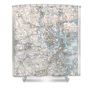 1900 Us Geological Survey Of Boston And Vicinity Massachusetts Shower Curtain
