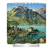 1900s Switzerland Swiss Alps Spiez Mit Ralligstoecke Shower Curtain