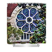 1901 Antique Uab Gothic Stained Glass Window Shower Curtain by Kathy Clark