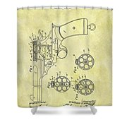 1901 Automatic Revolver Patent Shower Curtain