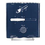 1902 Baseball Bat Patent In Blue Shower Curtain