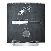 1902 Baseball Bat Patent In Chalk Shower Curtain