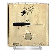 1902 Baseball Bat Patent In Sepia Shower Curtain