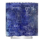 1902 Watchmakers Lathes Patent Blue Shower Curtain