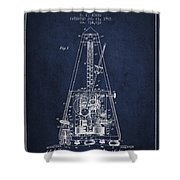 1903 Electric Metronome Patent - Navy Blue Shower Curtain