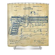 1903 Mcclean Pistol Patent Artwork - Vintage Shower Curtain