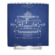 1903 Type Writing Machine Patent - Blueprint Shower Curtain