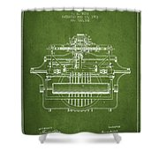 1903 Type Writing Machine Patent - Green Shower Curtain