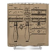 1904 Gillette Razor Patent Drawing Shower Curtain