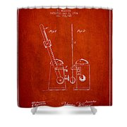 1904 Metronome Patent - Red Shower Curtain