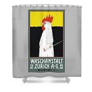 1904 Waschanstalt Zurich Advertising Poster Shower Curtain