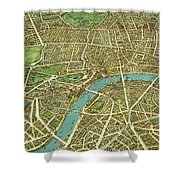 1908 London Vintage Map Poster Shower Curtain