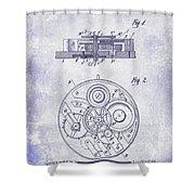 1908 Pocket Watch Patent Blueprint Shower Curtain