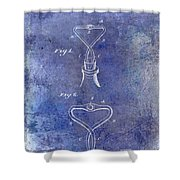 1909 Cork Extractor Patent Blue Shower Curtain