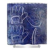 1910 Baseball Glove Patent Blue Shower Curtain