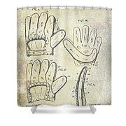 1910 Baseball Glove Patent  Shower Curtain