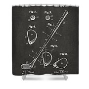 1910 Golf Club Patent Artwork - Gray Shower Curtain