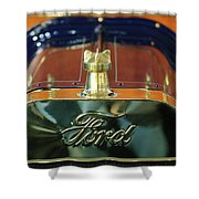 1911 Ford Model T Runabout Hood Ornament Shower Curtain by Jill Reger