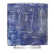 1911 Mechanical Skeleton Patent 1 Blue Shower Curtain