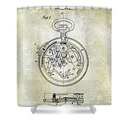 1913 Pocket Watch Patent Shower Curtain