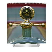 1913 White Gentleman's Roadster Hood Ornament Shower Curtain