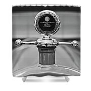 1913 White Gentlemans's Roadster Hood Ornament 2 Shower Curtain
