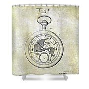 1916 Pocket Watch Patent Shower Curtain