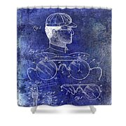1916 Sunglasses Patent Blue Shower Curtain