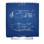 1917 Racing Vehicle Patent - Blueprint Shower Curtain