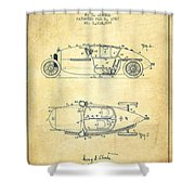 1917 Racing Vehicle Patent - Vintage Shower Curtain
