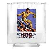 1919 Allied Games Poster Shower Curtain