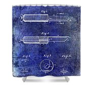 1920 Paring Knife Patent Blue Shower Curtain