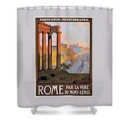 1920 Paris To Rome Train Travel Poster Shower Curtain