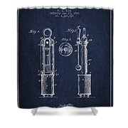 1920 Tuning Fork Patent - Navy Blue Shower Curtain