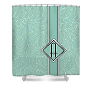 1920s Blue Deco Jazz Swing Monogram ...letter A Shower Curtain