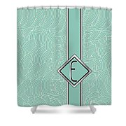 1920s Blue Deco Jazz Swing Monogram ...letter E Shower Curtain