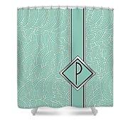1920s Blue Deco Jazz Swing Monogram ...letter P Shower Curtain