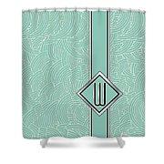 1920s Blue Deco Jazz Swing Monogram ...letter W Shower Curtain