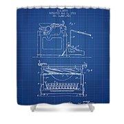 1923 Typewriter Screen Patent - Blueprint Shower Curtain