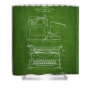 1923 Typewriter Screen Patent - Green Shower Curtain