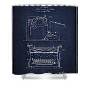 1923 Typewriter Screen Patent - Navy Blue Shower Curtain