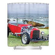 1927 Ford T Bucket Roadster 'on The Greens' Shower Curtain
