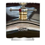 1927 Ford T Roadster Hood Ornament Shower Curtain